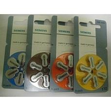 Siemens Batteries Zinc Air for Hearing Aids (Size 10, 13, 312, 675)